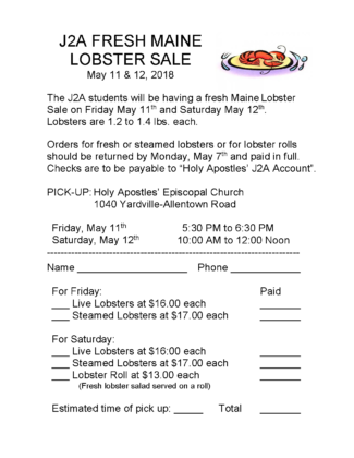 J2A Maine Whole Lobster Sale - May 11 & 12, 2018