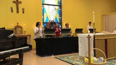 """Holy, Holy, Holy"" on Trinity Sunday by The Grace Notes Handbell Quartet"