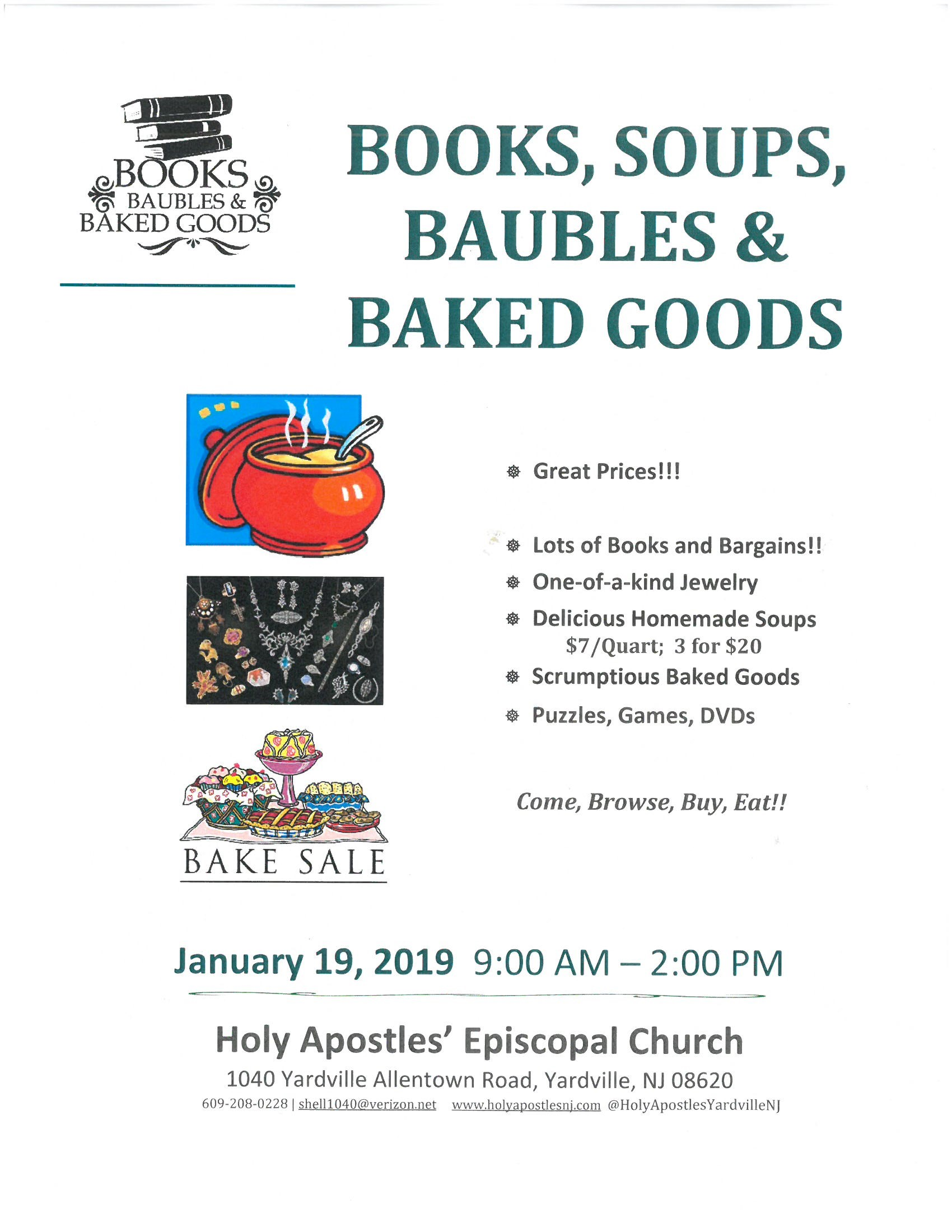 Books, Soups, Baubles & Baked Goods 9AM
